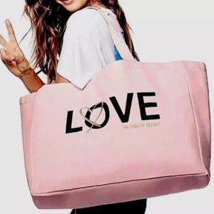 Victoria's Secret Love Beaded Canvas Tote Bag